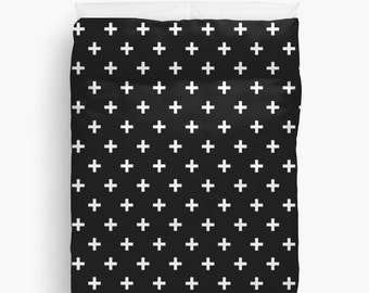Duvet Cover Black White Swiss Cross Twin Full Queen King Bedspread Bedding hipster Dorm Home Apartment Decor