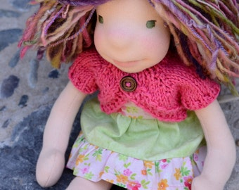 12 inch Waldorf Doll Dress Waldorf Doll Clothes Waldorf Doll Sweater - With Shoes