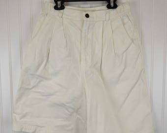 90s White Denim Shorts, Vintage 1990s High Waisted Jean Shorts, Women's Size 10, Gotcha Covered Made in USA