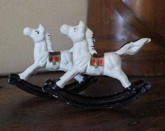 Vintage Cast Iron Rocking Horses, Horse decor, Babies Room, Holiday