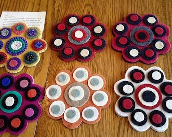 Wool Kit -- SCALLOPED Mug Rug -- Wool Penny Kit -- Make Your Own Wool Penny Rug -- Pre Cut Kits -- Wool Pennies