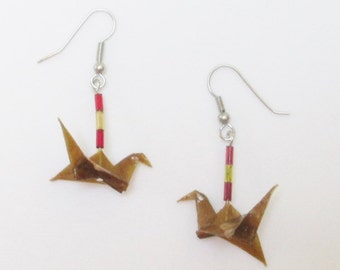 Peace Crane Earrings, Flying Cranes, Peace Cranes, Dangle Earrings, Gold Peace Cranes, Meditation, Gift for Her, Stocking Stuffer, ER101