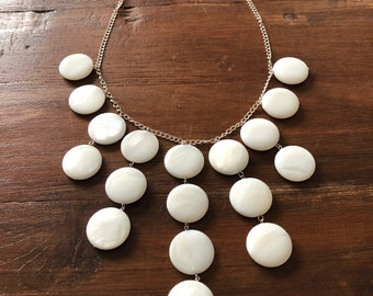 Sterling mother of pearl bib necklace