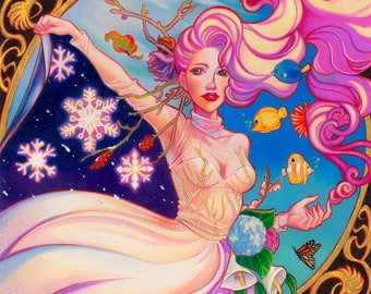 Ad un soffio di vento , archival giclee print pop surrealism art colorful art cycling seasons art nouveau mucha