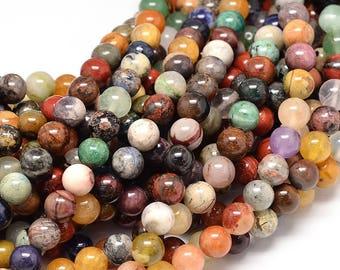 Natural stone, 8mm, 1 strand mixed,