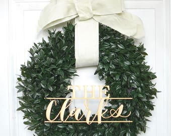 Custom Personalized Monogram Wreath with Bow
