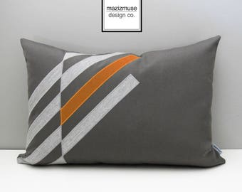 Decorative Orange & Grey Outdoor Pillow Cover, Modern Sunbrella Pillow Cover, Geometric Pillow Cover, Tuscan Orange Cushion Cover