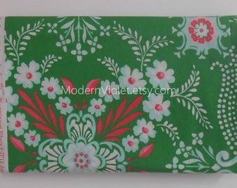 Jennifer Paganelli Ann Flower Mural in Green, Pretty Please Free Spirit for Westminster Fabric JP12, Rare OOP VHTF Destash