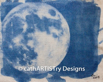 Handmade Photograph of New Moon Over Tiberias, Israel on Unstretched Linen Canvas