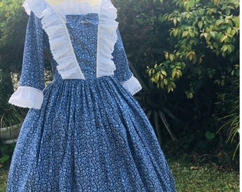 DAR 1776-colonial women dress costume pioneer dress civil war made to measurement choice of color size 14-plus 2x