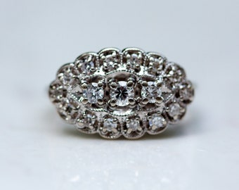 Vintage Midcentury Ornate Cluster Diamond Ring 14k White Gold, Size 5.75 // Engagement Ring // midcentury princess ring //