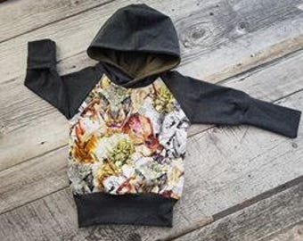Living dinosaurs, charcoal and olive hooded Hoodie