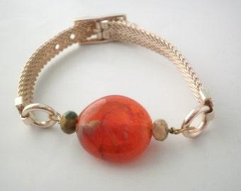 Chainmaille /Bracelet/ /Carnelian Agate/ Chunky Stone/  Rhyolite/ Orange Stone/