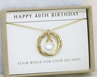 40th birthday gift, April birthstone necklace 40th, rock crystal necklace for 40th birthday, gift for wife, mother - Lilia