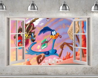 Wile E Coyote and the Road Runner Wall Sticker 3D Window Effect Art Mural 894
