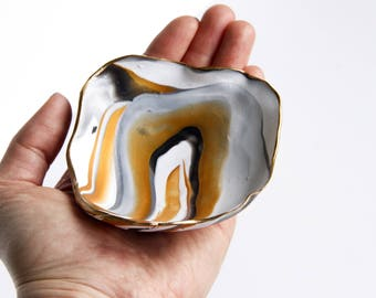 Black & Gold Marble Ring Dish