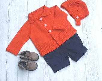 Little Cardigan & Helmet - Hand Knitted - Size 0 - 100% Merino Wool