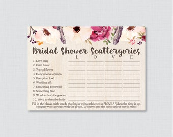 Boho Bridal Shower Scattergories Game - Printable Bohemian Scattergories Game - Flowers and Feathers Wedding Shower Game 0006