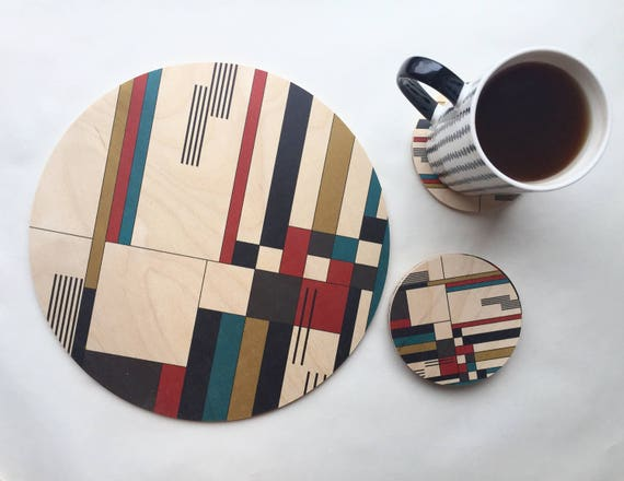 BAUHAUS wood trivet / giant coaster