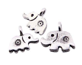 Thai Karen Hill Tribe Silver,Elephant Shaped Podduang Carved Karen Hill Tribe Handmade Charms,Charms,Karen Silver- KSC0163