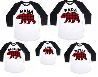 Mama bear shirt, Family matching shirts, Family shirt set, Baby bear shirt, Dada bear shirt, Brother bear shirt, Sister bear shirt