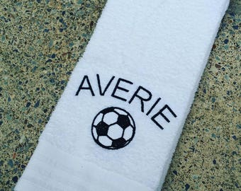 Personalized Soccer Player Sweat Towel, Gym Towel, Personalized Towel, Sports Towel