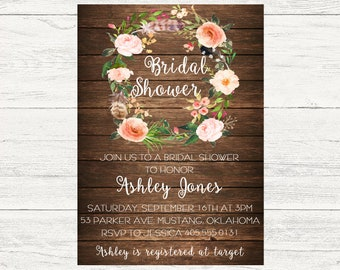 Boho Bridal Shower Invitation, Bridal Shower Invitation, Floral Boho
