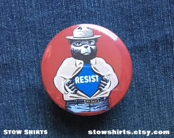 Alt Bear Resists! button badge, fridge magnet or pocket mirror, political pin badge, forest bear pin button, stop trump pin button