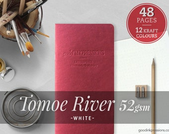 Tomoe River White 52gsm, Traveler's Notebook - 12 kraft colors - Notebooks and Planners - Bullet Journal - Scrapbooking - Fountain Pen