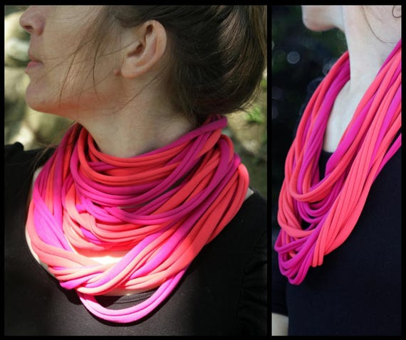 Necklace - Scarf - necklace with MULTISTRAND bicolor pink Fuchsia and coral lycra fabric