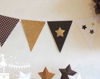 12 chocolate - white - gold Bunting 165cm decor star
