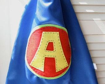 Kids Superhero Cape-Perfect Christmas Gift-PERSONALIZE/CUSTOMIZE - Boys Superhero Costume - Choose the Initial - Superhero Birthday Party