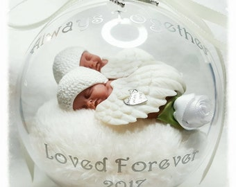 Infant Loss, Miscarriage, Born Sleeping, Angel Baby Twins Memorial Globe