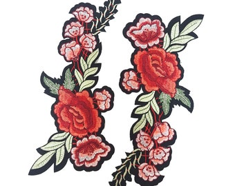 Iron on Embroidered Rose Flower Patch Applique, Red Flower Badge