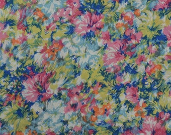 Vintage Dress Fabric, Slippery Fabric, Floral Dress Fabric, Polyester Fabric,  Vintage Fabric, Vintage Floral - 2 1/4 Yards - DF2318