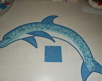 Dolphin mosaic glass to pool to order