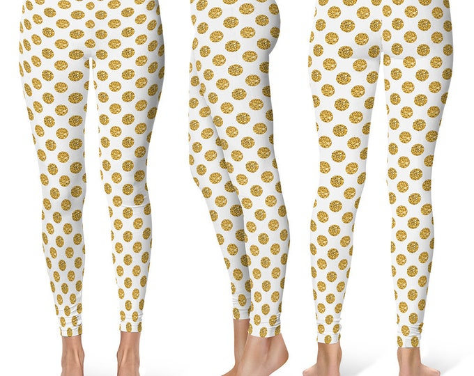Polka Dot Leggings Yoga Pants, Printed Yoga Tights for Women, Glittery Gold and White Pattern