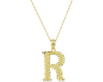 10K Solid Yellow Gold Initial Letter Pendant Singapore Chain Necklace Set - A-Z Any Alphabet Charm