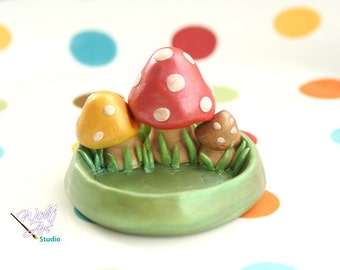 Polymer Clay Mushroom Ring Holder