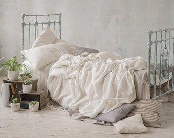 Linen DUVET COVER White Queen King Twin Double SEAMLESS Doona cover linen bedding comforter cover stonewashed prewashed pure linen