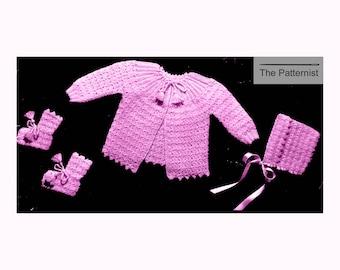 Newborn Layette Vintage Crochet Pattern Cardigan Sweater Bonnet and Booties PDF Instant Download SKU 84-2