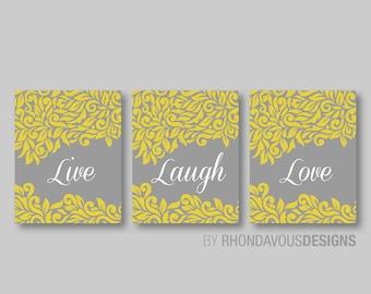 Live Laugh Love Swirl Damask Print Trio - Wall. Home Art Decor Bath - Bath Art - Bathroom Art - Bath Decor - Livingroom Art (NS-403)