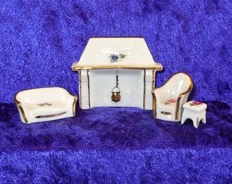 Limoges 4-pc. Miniature Hand-painted Porcelain Dollhouse Furniture Set. Item #D524.
