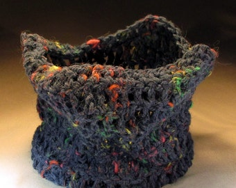 Wacky Blue Crocheted Bowl with Rainbow Flecks, Stiffened to Hold Shape