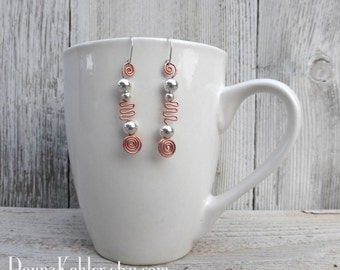 Spirals and Waves of Copper Earrings Sterling Silver Wires and Sterling Silver Beads