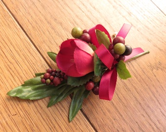 Wine Coloured Buttonhole/Boutonniere, Wedding, Prom, Anniversary, Homecomeing.