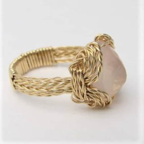 Rose Quartz Ring Wire Wrapped 14 kt Gold Filled Faceted Gemstone