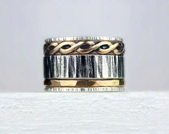 Silver and Gold Stacking Rings, Mixed Metal Stackable Rings, Rustic Band, Braided Band Ring, Hammered Silver Rings