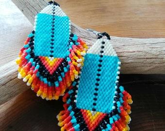 Beaded Earrings Cherokee Made Earrings Beaded Native American Earrings tsalagi