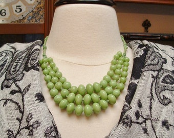 Crisp Vintage Apple Green Hand Knotted Glass Bib Style Necklace